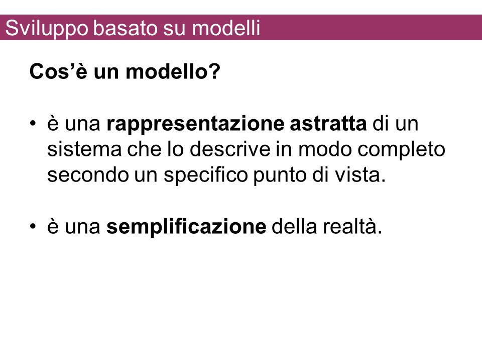Sviluppo basato su modelli Cosè un modello? è una rappresentazione astratta di un sistema che lo descrive in modo completo secondo un specifico punto