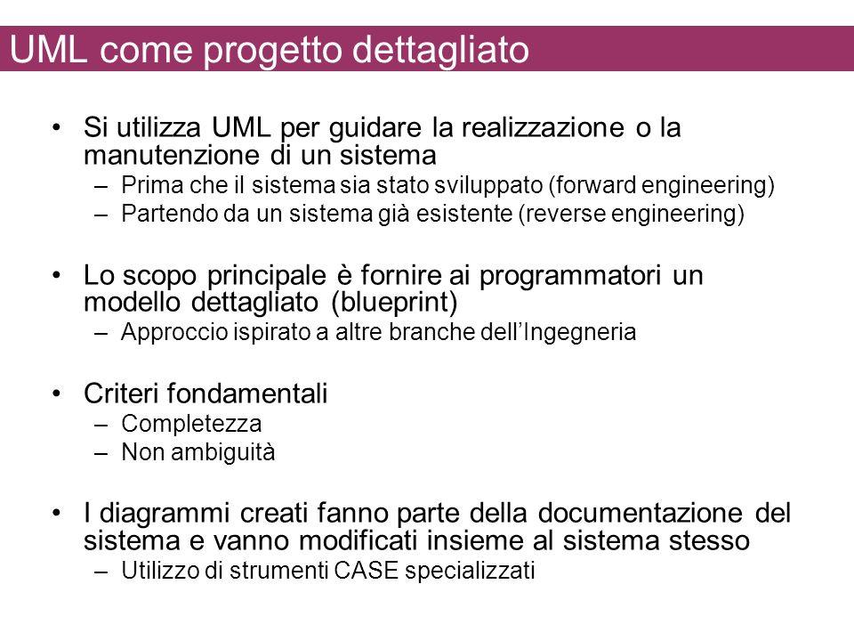 UML come progetto dettagliato Si utilizza UML per guidare la realizzazione o la manutenzione di un sistema –Prima che il sistema sia stato sviluppato (forward engineering) –Partendo da un sistema già esistente (reverse engineering) Lo scopo principale è fornire ai programmatori un modello dettagliato (blueprint) –Approccio ispirato a altre branche dellIngegneria Criteri fondamentali –Completezza –Non ambiguità I diagrammi creati fanno parte della documentazione del sistema e vanno modificati insieme al sistema stesso –Utilizzo di strumenti CASE specializzati