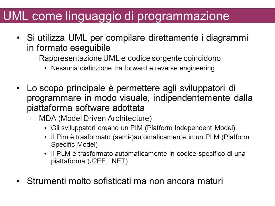 UML come linguaggio di programmazione Si utilizza UML per compilare direttamente i diagrammi in formato eseguibile –Rappresentazione UML e codice sorgente coincidono Nessuna distinzione tra forward e reverse engineering Lo scopo principale è permettere agli sviluppatori di programmare in modo visuale, indipendentemente dalla piattaforma software adottata –MDA (Model Driven Architecture) Gli sviluppatori creano un PIM (Platform Independent Model) Il Pim è trasformato (semi-)automaticamente in un PLM (Platform Specific Model) Il PLM è trasformato automaticamente in codice specifico di una piattaforma (J2EE,.NET) Strumenti molto sofisticati ma non ancora maturi