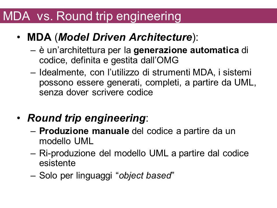 MDA vs. Round trip engineering MDA (Model Driven Architecture): –è unarchitettura per la generazione automatica di codice, definita e gestita dallOMG