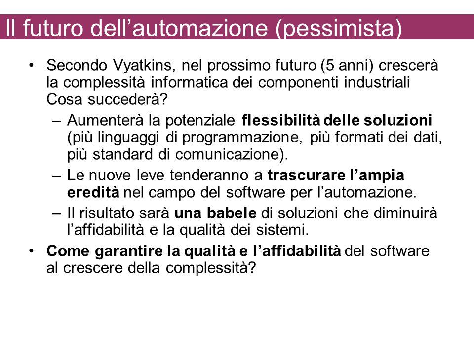 Il futuro dellautomazione (pessimista) Secondo Vyatkins, nel prossimo futuro (5 anni) crescerà la complessità informatica dei componenti industriali C