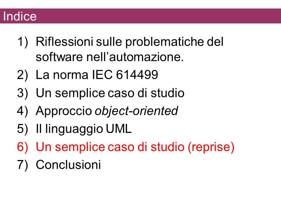 Indice 1)Riflessioni sulle problematiche del software nellautomazione. 2)La norma IEC 614499 3)Un semplice caso di studio 4)Approccio object-oriented