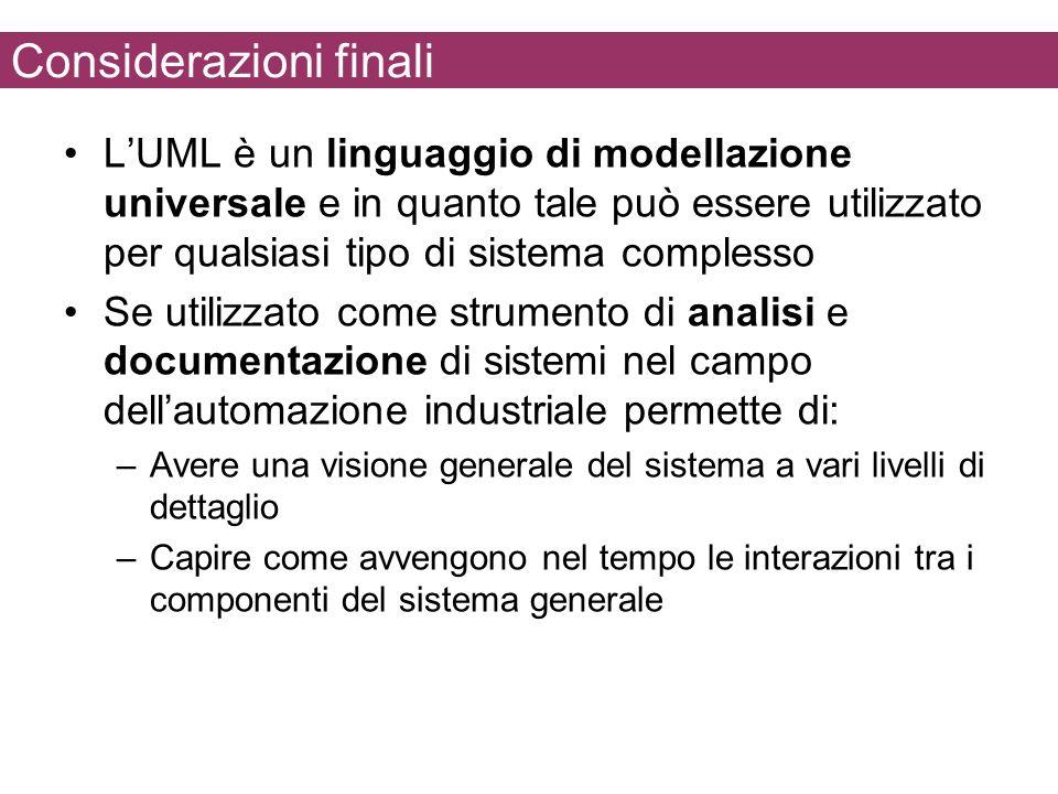 Considerazioni finali LUML è un linguaggio di modellazione universale e in quanto tale può essere utilizzato per qualsiasi tipo di sistema complesso S