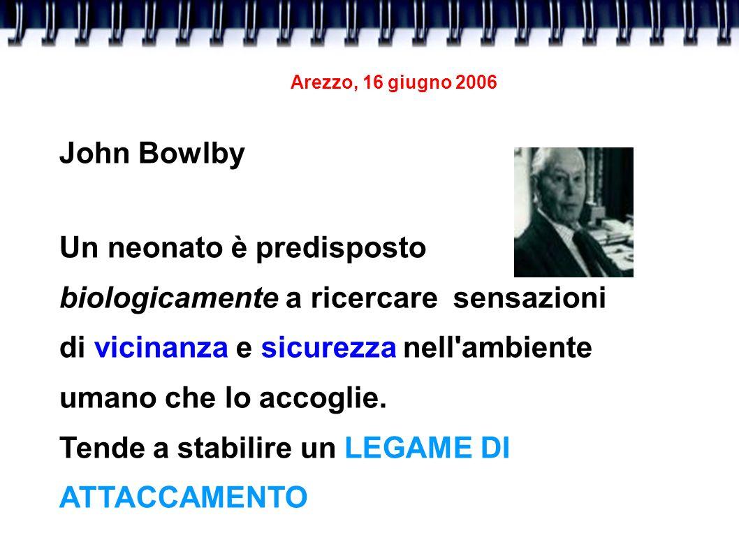 Arezzo, 16 giugno 2006 John Bowlby Un neonato è predisposto biologicamente a ricercare sensazioni di vicinanza e sicurezza nell'ambiente umano che lo