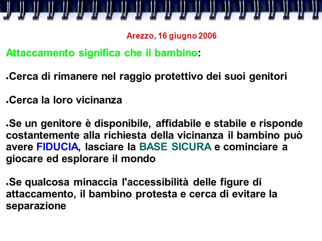 Arezzo, 16 giugno 2006 Attaccamento significa che il bambino: Cerca di rimanere nel raggio protettivo dei suoi genitori Cerca la loro vicinanza Se un