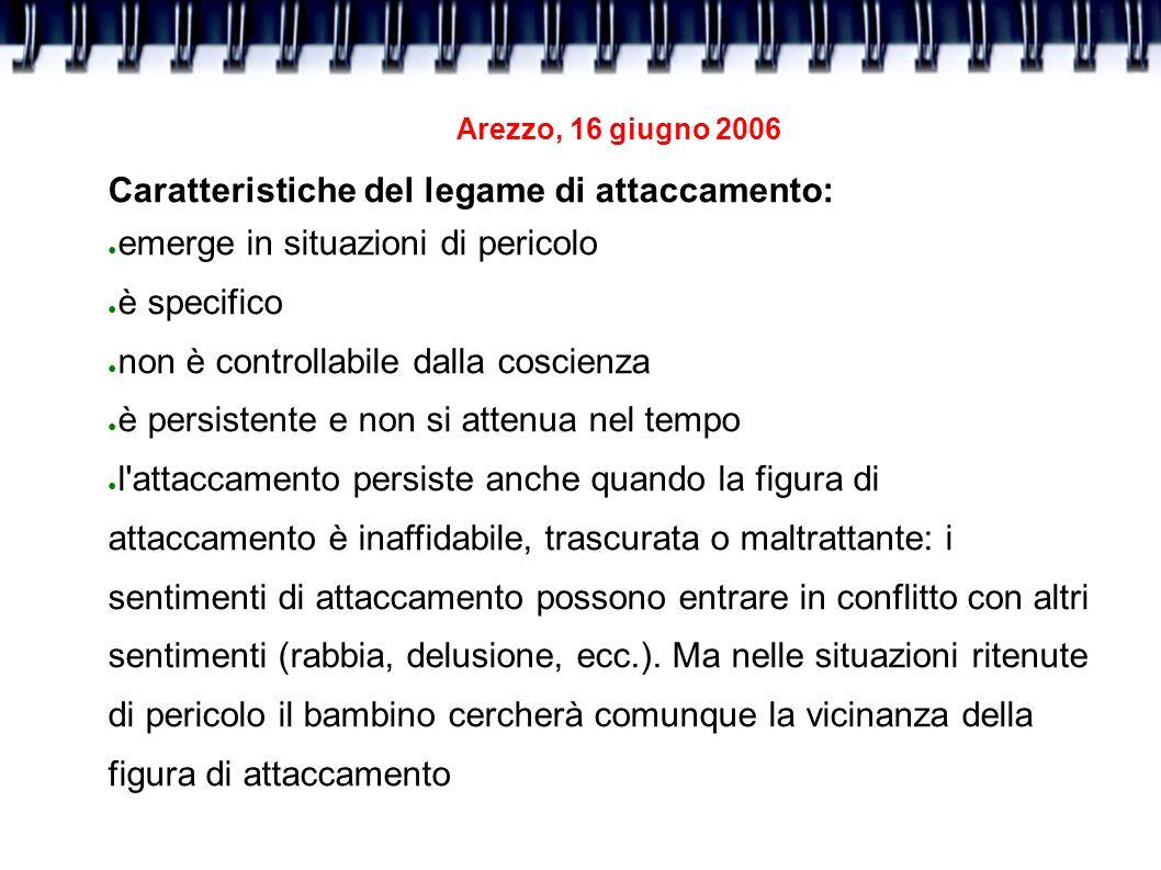 Arezzo, 16 giugno 2006 Caratteristiche del legame di attaccamento: emerge in situazioni di pericolo è specifico non è controllabile dalla coscienza è