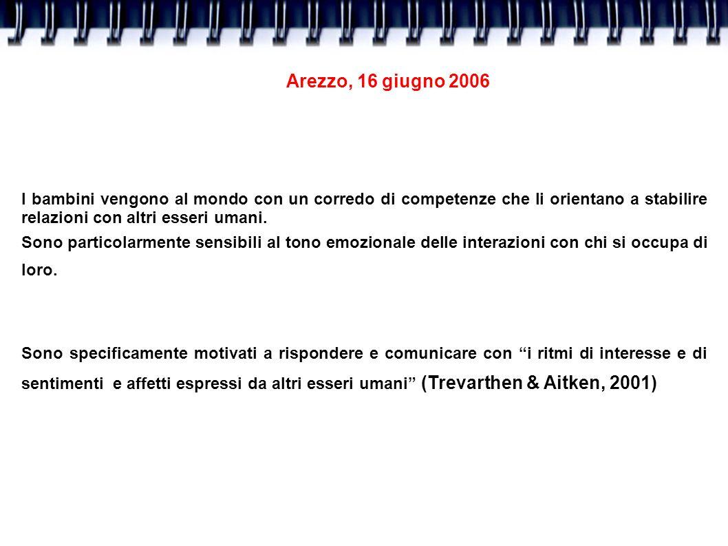 Arezzo, 16 giugno 2006 I bambini vengono al mondo con un corredo di competenze che li orientano a stabilire relazioni con altri esseri umani. Sono par