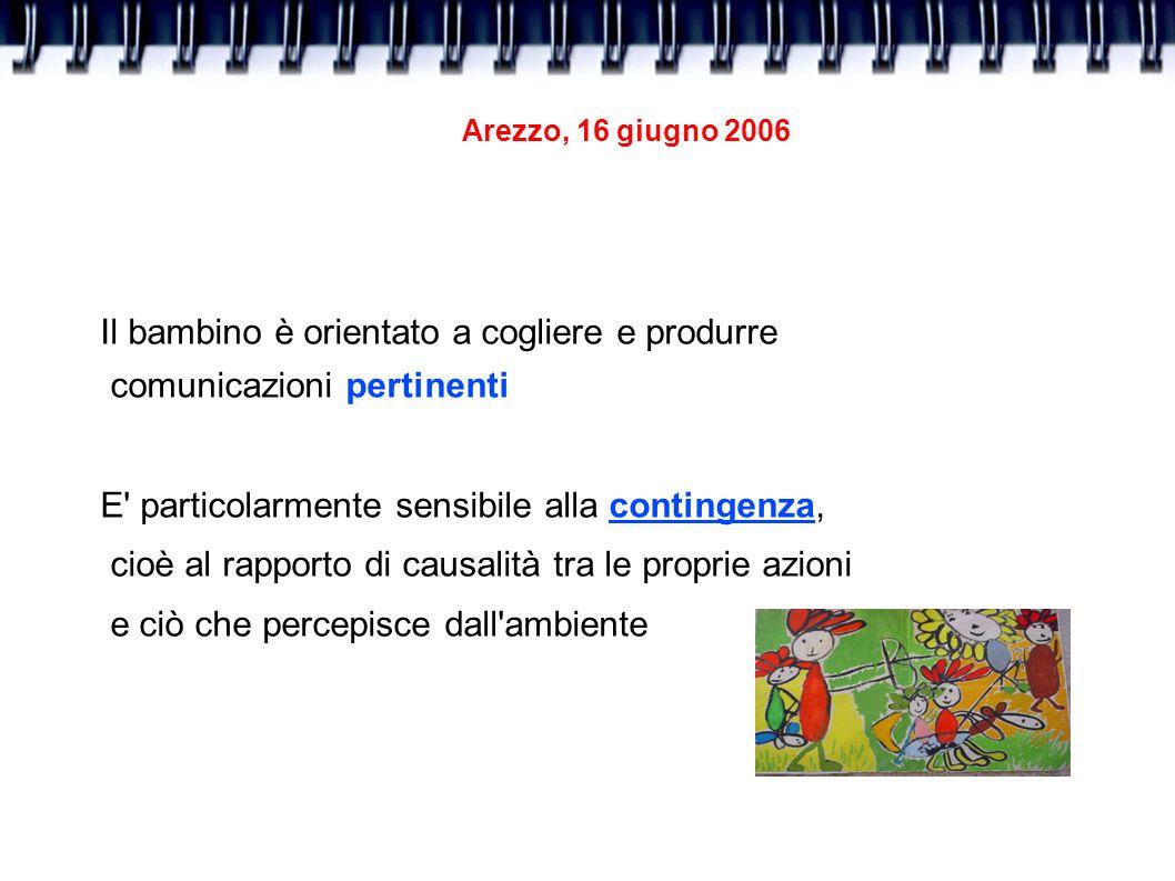 Arezzo, 16 giugno 2006 Il bambino è orientato a cogliere e produrre comunicazioni pertinenti E' particolarmente sensibile alla contingenza, cioè al ra