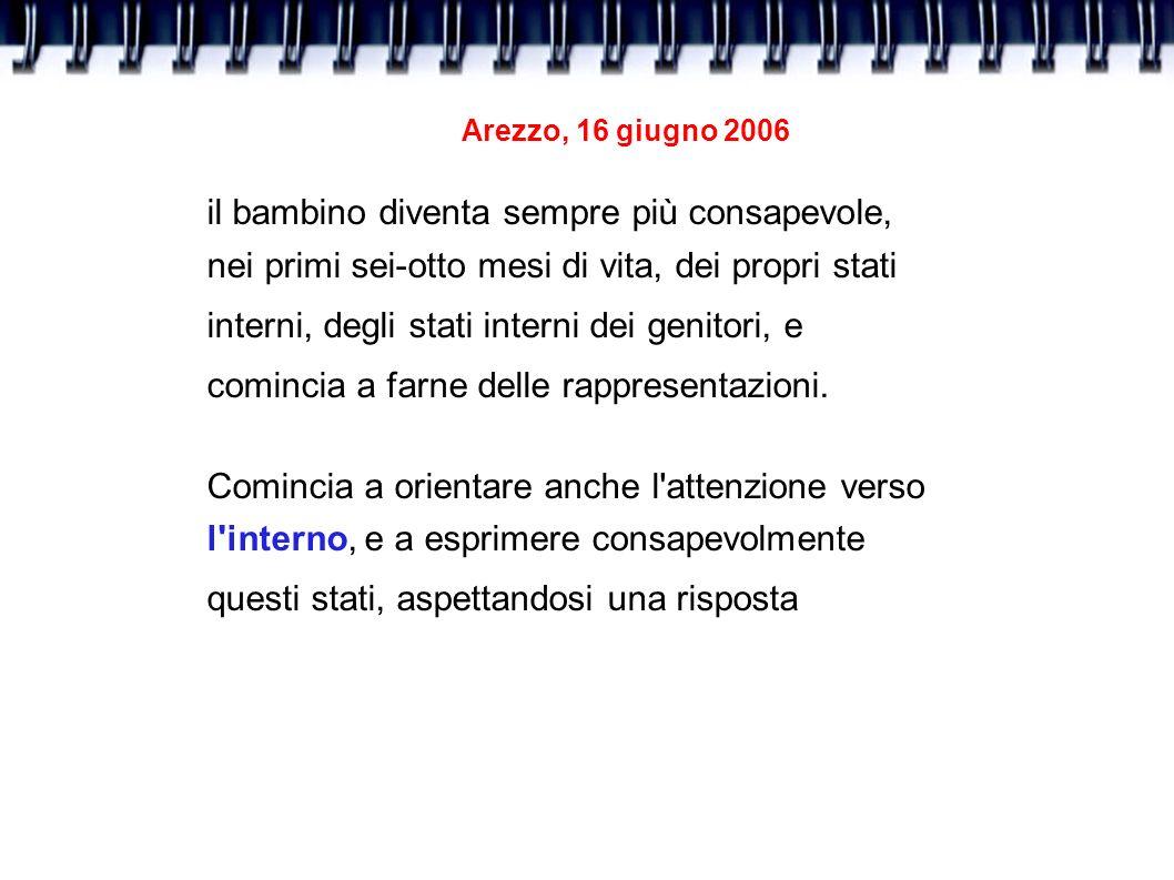 Arezzo, 16 giugno 2006 il bambino diventa sempre più consapevole, nei primi sei-otto mesi di vita, dei propri stati interni, degli stati interni dei g