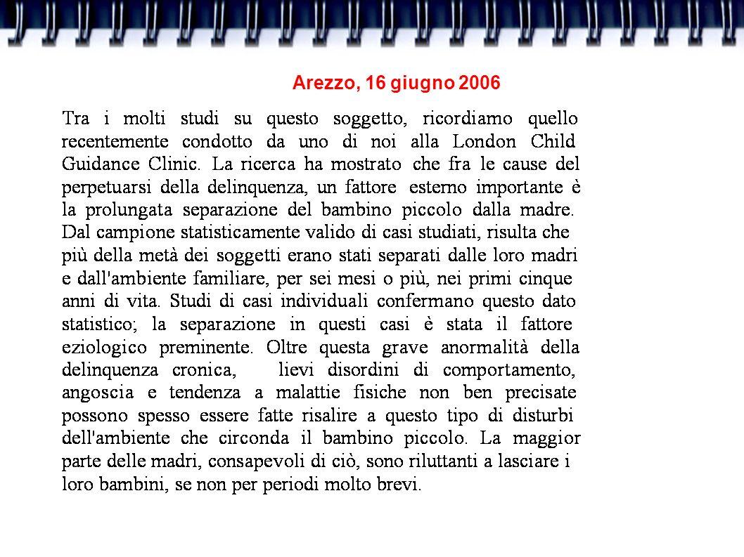 Arezzo, 16 giugno 2006 La qualità delle relazioni - e in particolare la possibilità di sperimentare contingenza, sincronia, sintonia,attaccamento sicuro, rispecchiamento, comunicazione, vicinanza, reciprocità, ricchezza emozionale - ha numerosi effetti sullo sviluppo cerebrale, e in particolare sull organizzazione del sistema limbico e sulla simmetria dell attività dei lobi frontali.