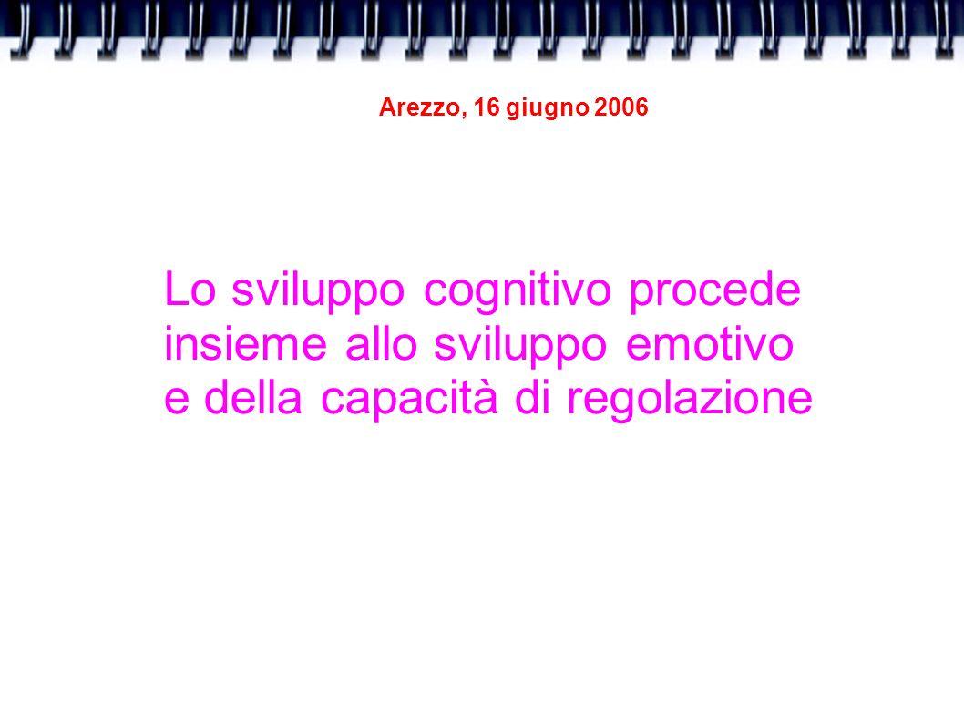 Arezzo, 16 giugno 2006 Lo sviluppo cognitivo procede insieme allo sviluppo emotivo e della capacità di regolazione