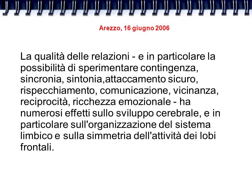 Arezzo, 16 giugno 2006 La qualità delle relazioni - e in particolare la possibilità di sperimentare contingenza, sincronia, sintonia,attaccamento sicu