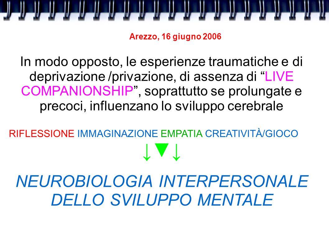 Arezzo, 16 giugno 2006 In modo opposto, le esperienze traumatiche e di deprivazione /privazione, di assenza di LIVE COMPANIONSHIP, soprattutto se prol