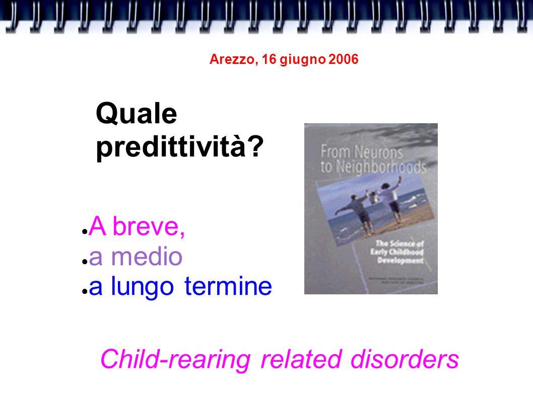 Quale predittività? A breve, a medio a lungo termine Child-rearing related disorders