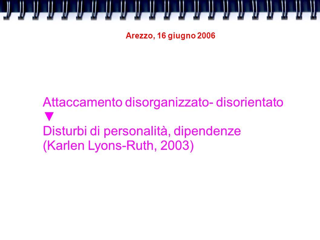 Arezzo, 16 giugno 2006 Attaccamento disorganizzato- disorientato Disturbi di personalità, dipendenze (Karlen Lyons-Ruth, 2003)