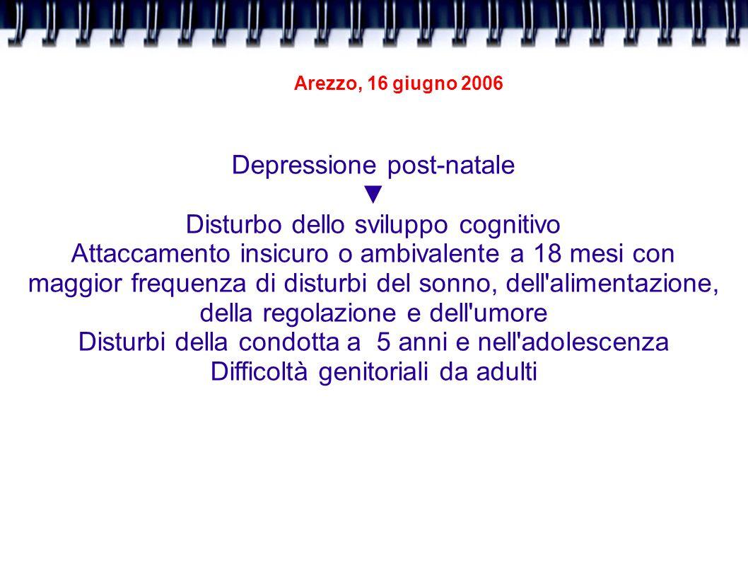 Arezzo, 16 giugno 2006 Depressione post-natale Disturbo dello sviluppo cognitivo Attaccamento insicuro o ambivalente a 18 mesi con maggior frequenza d
