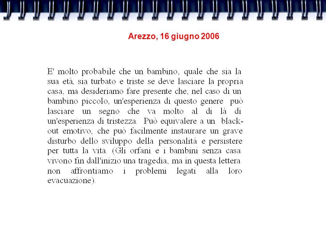 Arezzo, 16 giugno 2006 IDENTIFICAZIONE PRECOCE Formazione specifica degli operatori dei servizi di salute di salute mentale dei servizi sociali dei servizi dell area materno infantile dei servizi educativi per l infanzia