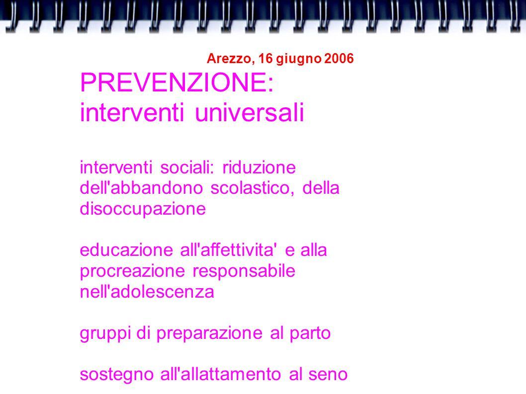 Arezzo, 16 giugno 2006 PREVENZIONE: interventi universali interventi sociali: riduzione dell'abbandono scolastico, della disoccupazione educazione all