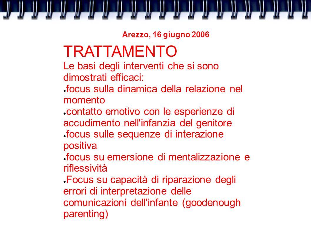 Arezzo, 16 giugno 2006 TRATTAMENTO Le basi degli interventi che si sono dimostrati efficaci: focus sulla dinamica della relazione nel momento contatto