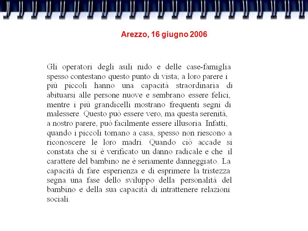 Arezzo, 16 giugno 2006 I tipi di legame di attaccamento Attaccamento sicuro (madre come base sicura): Alla separazione sono presenti segnali di mancanza del genitore.