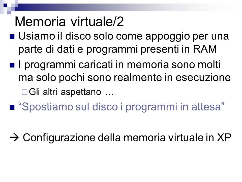 Memoria virtuale/2 Usiamo il disco solo come appoggio per una parte di dati e programmi presenti in RAM I programmi caricati in memoria sono molti ma