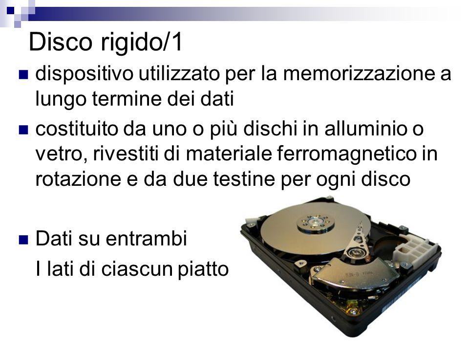 Disco rigido/1 dispositivo utilizzato per la memorizzazione a lungo termine dei dati costituito da uno o più dischi in alluminio o vetro, rivestiti di