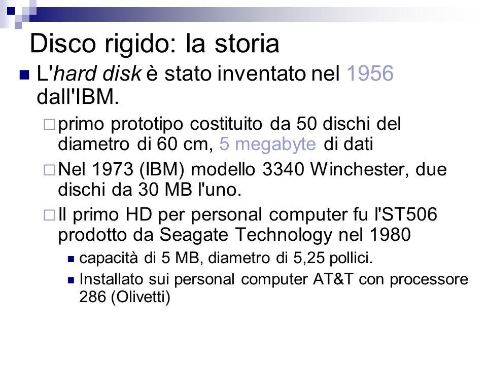 Disco rigido: la storia L'hard disk è stato inventato nel 1956 dall'IBM. primo prototipo costituito da 50 dischi del diametro di 60 cm, 5 megabyte di