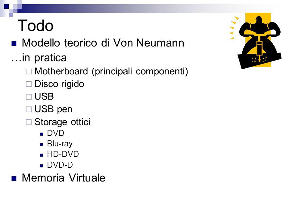 Todo Modello teorico di Von Neumann …in pratica Motherboard (principali componenti) Disco rigido USB USB pen Storage ottici DVD Blu-ray HD-DVD DVD-D M