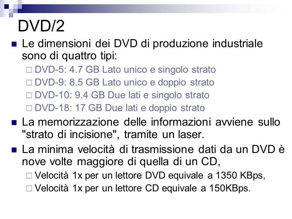 DVD/2 Le dimensioni dei DVD di produzione industriale sono di quattro tipi: DVD-5: 4.7 GB Lato unico e singolo strato DVD-9: 8.5 GB Lato unico e doppi