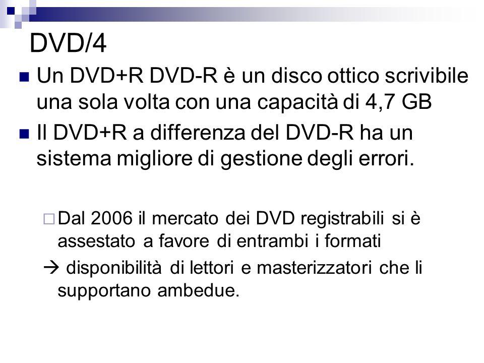 DVD/4 Un DVD+R DVD-R è un disco ottico scrivibile una sola volta con una capacità di 4,7 GB Il DVD+R a differenza del DVD-R ha un sistema migliore di