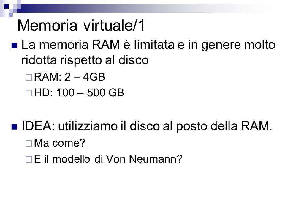 Memoria virtuale/1 La memoria RAM è limitata e in genere molto ridotta rispetto al disco RAM: 2 – 4GB HD: 100 – 500 GB IDEA: utilizziamo il disco al p