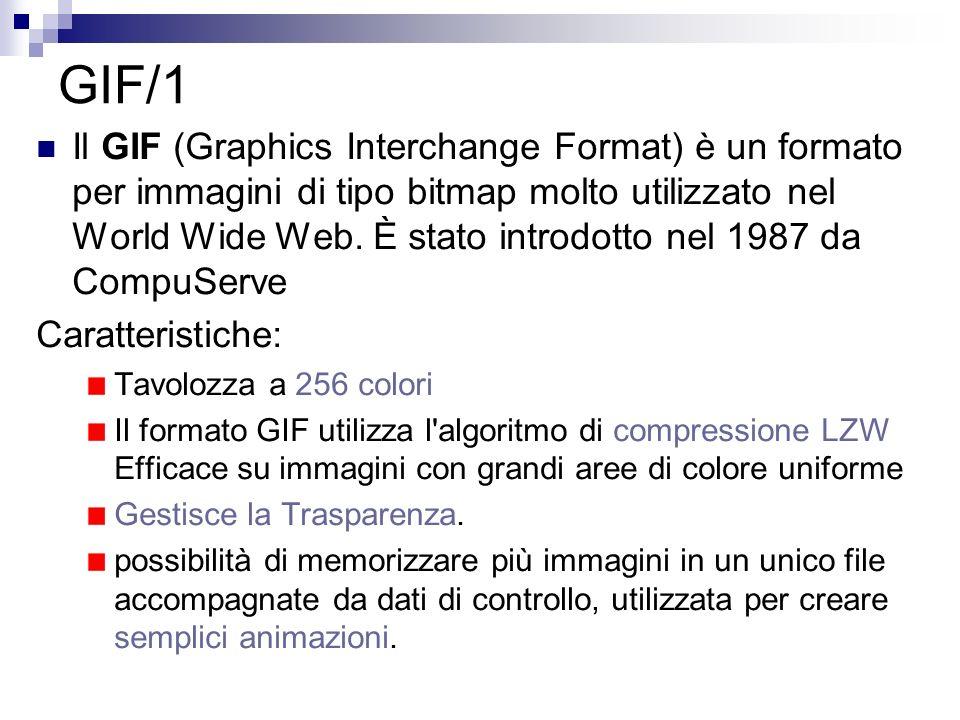 GIF/1 Il GIF (Graphics Interchange Format) è un formato per immagini di tipo bitmap molto utilizzato nel World Wide Web. È stato introdotto nel 1987 d