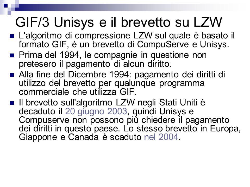 GIF/3 Unisys e il brevetto su LZW L'algoritmo di compressione LZW sul quale è basato il formato GIF, è un brevetto di CompuServe e Unisys. Prima del 1
