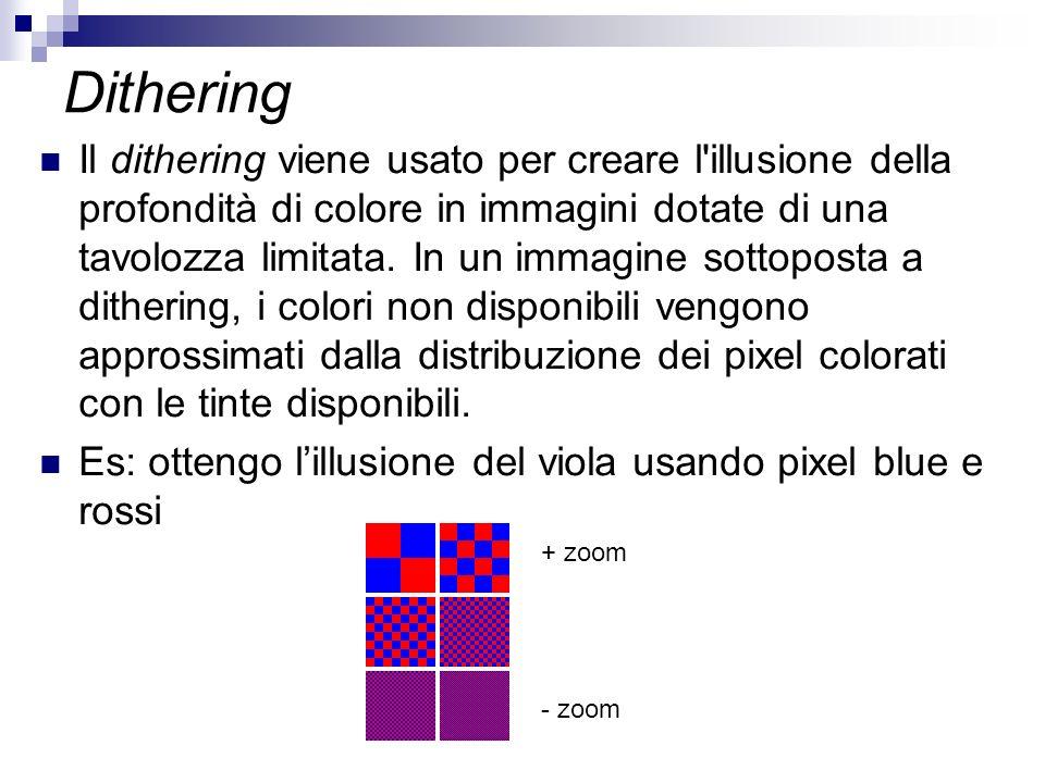 Dithering Il dithering viene usato per creare l'illusione della profondità di colore in immagini dotate di una tavolozza limitata. In un immagine sott