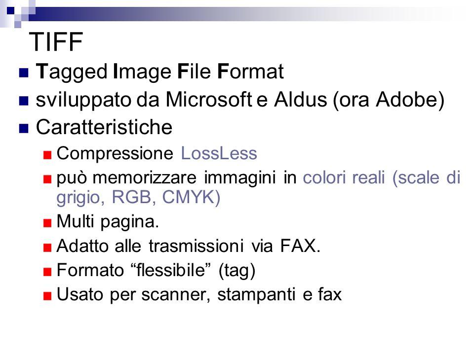 TIFF Tagged Image File Format sviluppato da Microsoft e Aldus (ora Adobe) Caratteristiche Compressione LossLess può memorizzare immagini in colori rea