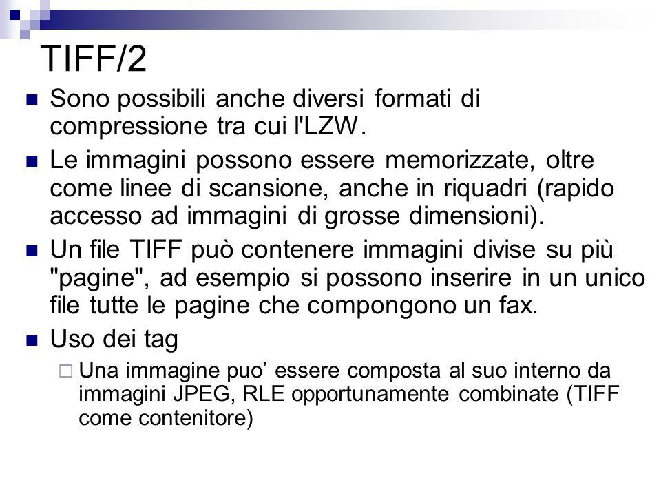 TIFF/2 Sono possibili anche diversi formati di compressione tra cui l'LZW. Le immagini possono essere memorizzate, oltre come linee di scansione, anch