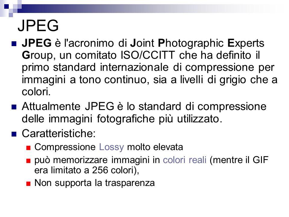 JPEG JPEG è l'acronimo di Joint Photographic Experts Group, un comitato ISO/CCITT che ha definito il primo standard internazionale di compressione per