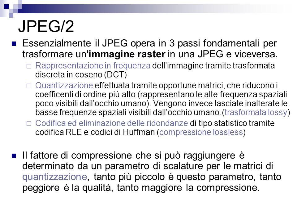 JPEG/2 Essenzialmente il JPEG opera in 3 passi fondamentali per trasformare un'immagine raster in una JPEG e viceversa. Rappresentazione in frequenza