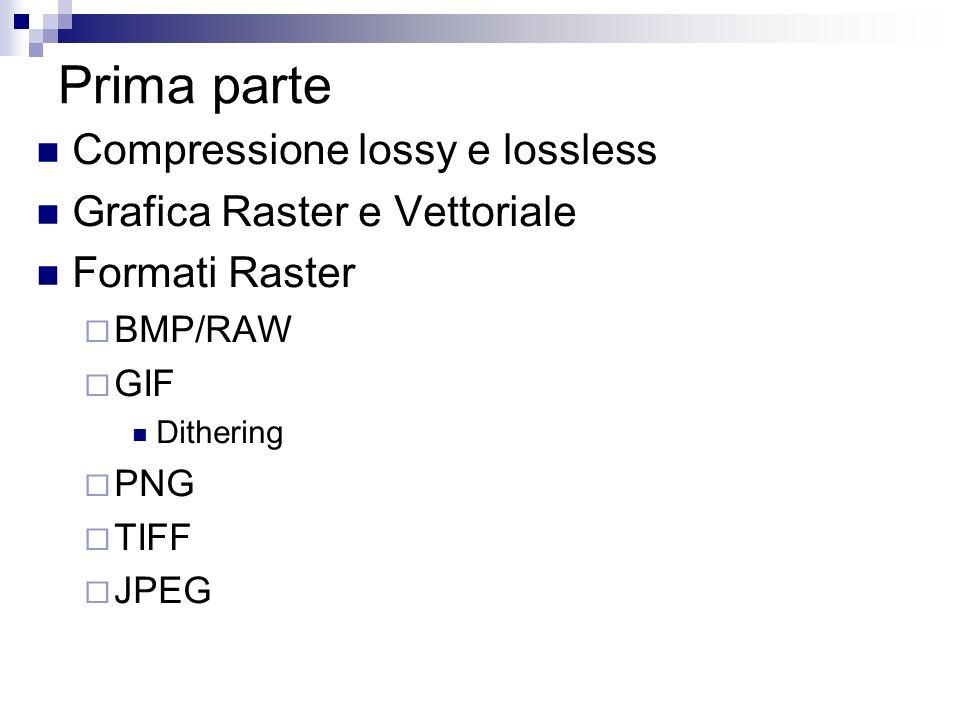Prima parte Compressione lossy e lossless Grafica Raster e Vettoriale Formati Raster BMP/RAW GIF Dithering PNG TIFF JPEG
