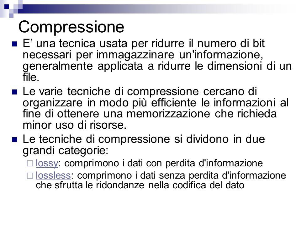 Compressione E una tecnica usata per ridurre il numero di bit necessari per immagazzinare un'informazione, generalmente applicata a ridurre le dimensi