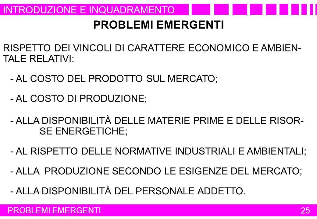 PROBLEMI EMERGENTI 25 RISPETTO DEI VINCOLI DI CARATTERE ECONOMICO E AMBIEN- TALE RELATIVI: PROBLEMI EMERGENTI - AL COSTO DI PRODUZIONE; - ALLA DISPONI