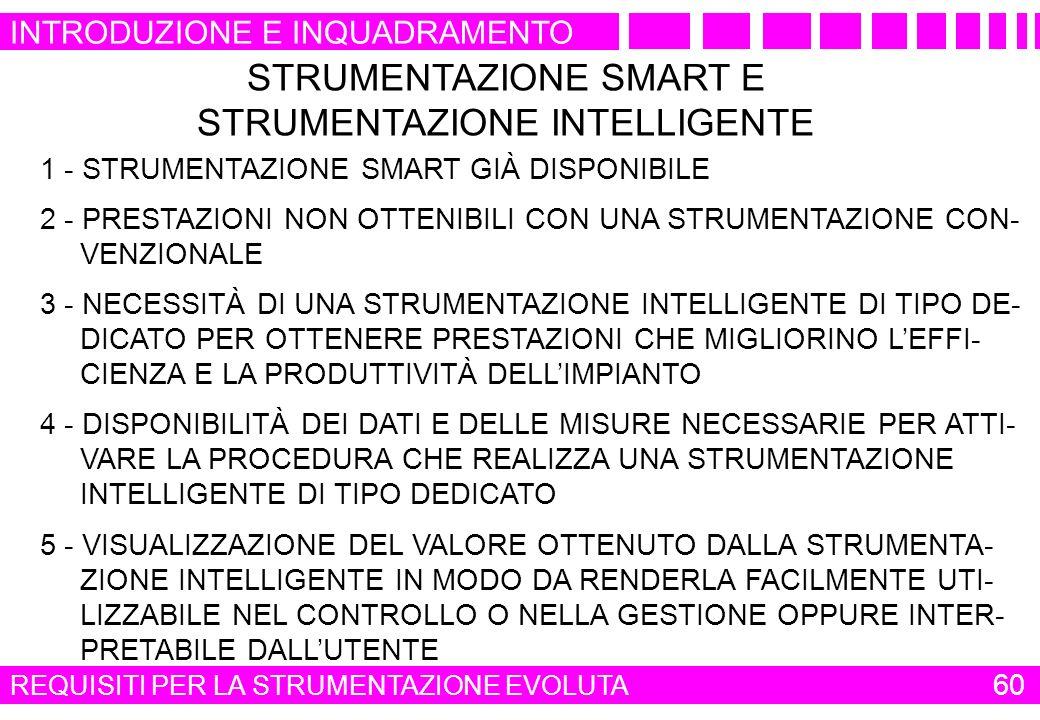 STRUMENTAZIONE SMART E STRUMENTAZIONE INTELLIGENTE 1 - STRUMENTAZIONE SMART GIÀ DISPONIBILE 2 - PRESTAZIONI NON OTTENIBILI CON UNA STRUMENTAZIONE CON-