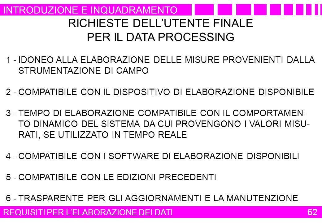 RICHIESTE DELLUTENTE FINALE PER IL DATA PROCESSING 1 -IDONEO ALLA ELABORAZIONE DELLE MISURE PROVENIENTI DALLA STRUMENTAZIONE DI CAMPO 2 -COMPATIBILE C