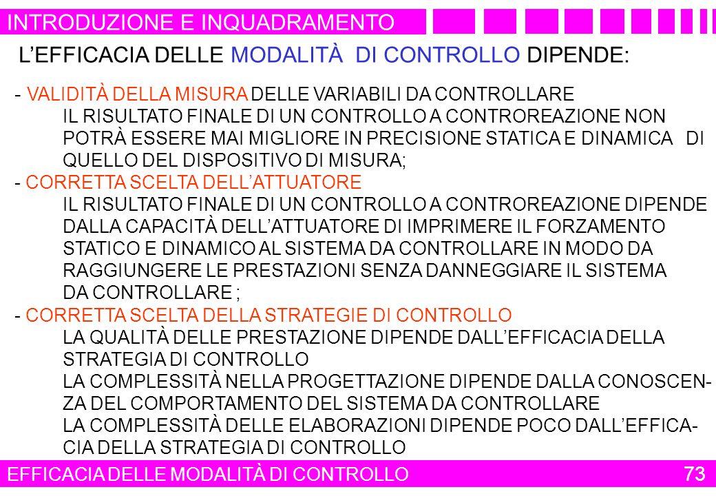 LEFFICACIA DELLE MODALITÀ DI CONTROLLO DIPENDE: - VALIDITÀ DELLA MISURA DELLE VARIABILI DA CONTROLLARE IL RISULTATO FINALE DI UN CONTROLLO A CONTROREA