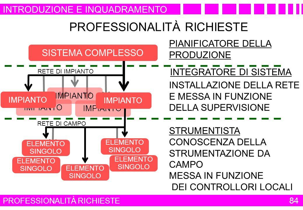 PROFESSIONALITÀ RICHIESTE INSTALLAZIONE DELLA RETE E MESSA IN FUNZIONE DELLA SUPERVISIONE MESSA IN FUNZIONE DEI CONTROLLORI LOCALI PIANIFICATORE DELLA