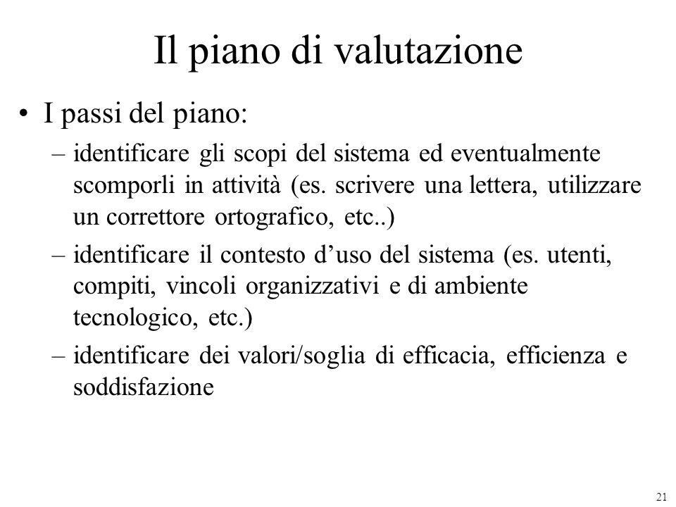 21 Il piano di valutazione I passi del piano: –identificare gli scopi del sistema ed eventualmente scomporli in attività (es. scrivere una lettera, ut
