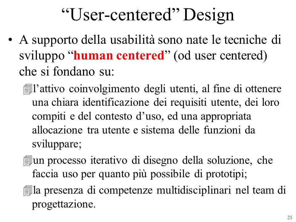 25 User-centered Design A supporto della usabilità sono nate le tecniche di sviluppo human centered (od user centered) che si fondano su: 4lattivo coi