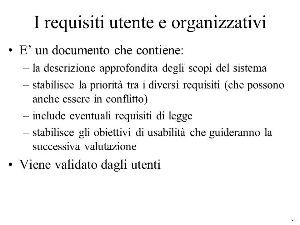 31 I requisiti utente e organizzativi E un documento che contiene: –la descrizione approfondita degli scopi del sistema –stabilisce la priorità tra i
