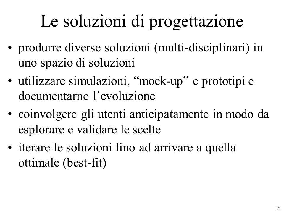 32 Le soluzioni di progettazione produrre diverse soluzioni (multi-disciplinari) in uno spazio di soluzioni utilizzare simulazioni, mock-up e prototip