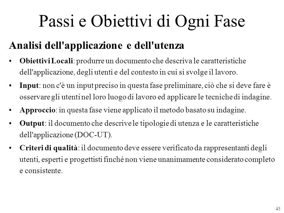 45 Passi e Obiettivi di Ogni Fase Analisi dell'applicazione e dell'utenza Obiettivi Locali: produrre un documento che descriva le caratteristiche dell